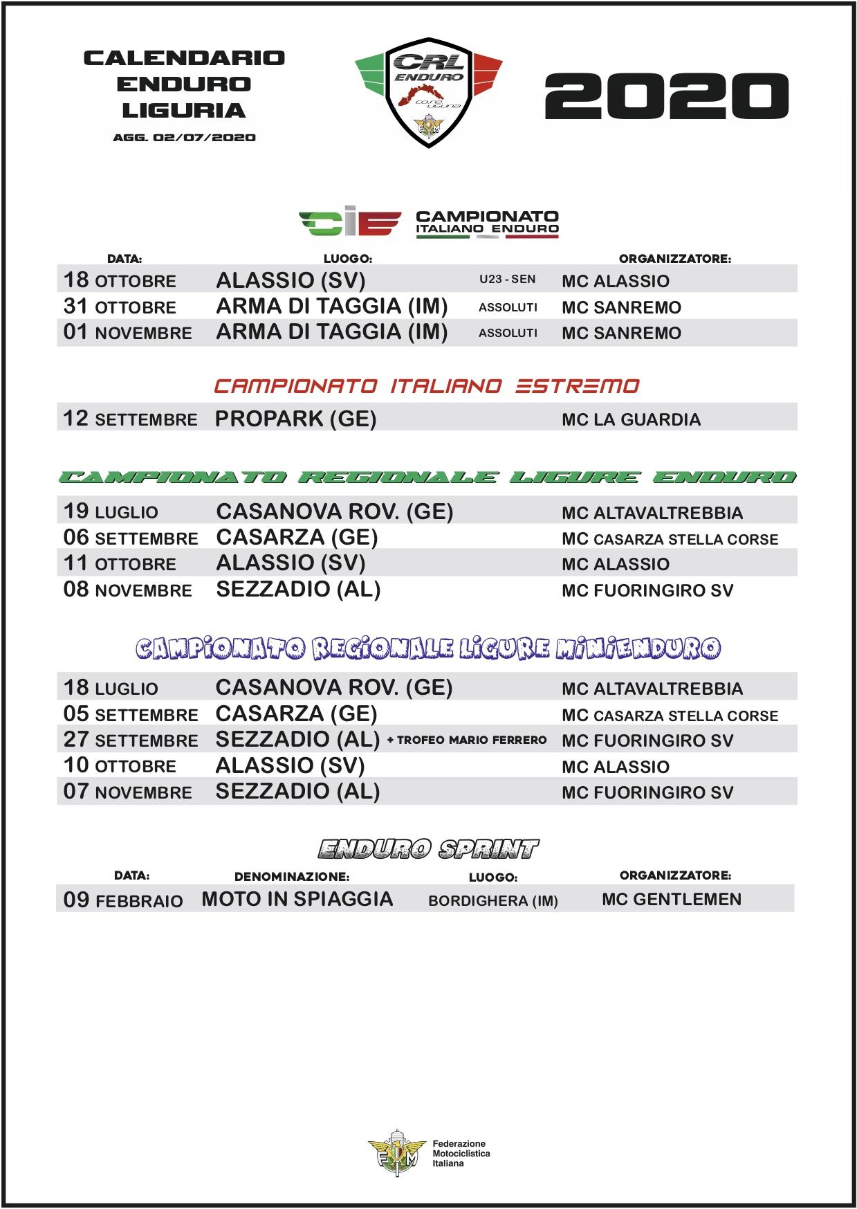 Calendario Enduro Regionale 2021 Calendario Regionale Enduro_aggiornato al 02/07/2020 | Fmi